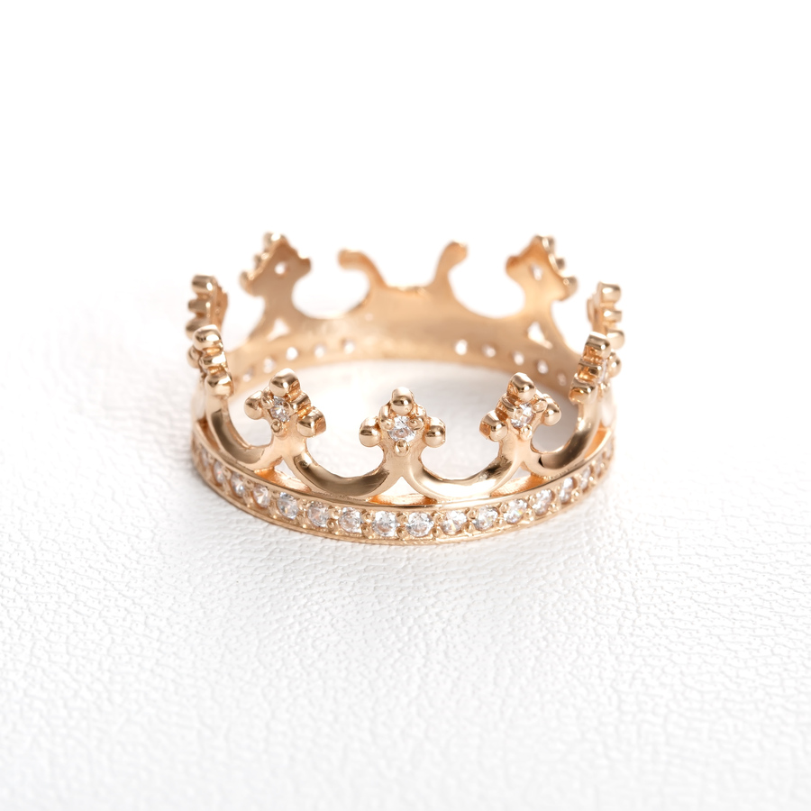 Золотое кольцо корона с фианитами. К1603