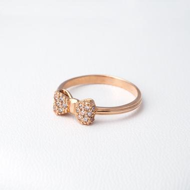Кольцо в виде бантика золотое Г20954