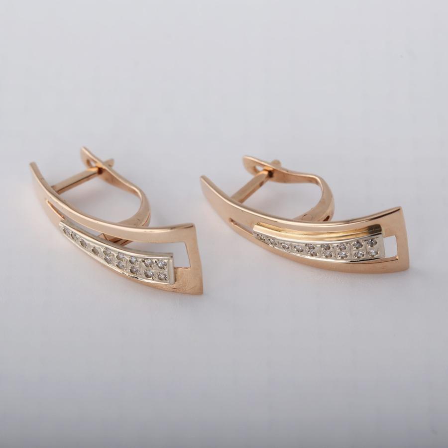 Золотые серьги дорожка с фианитами. С255