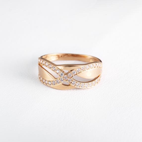 Золотое кольцо с фианитами. K1835