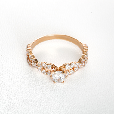 Золотое кольцо для предложения руки и сердца К21091