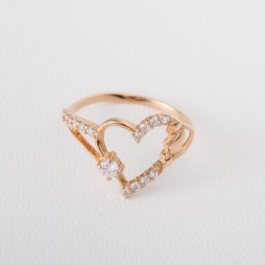 Золотое помолвочное кольцо с сердцем Г21149