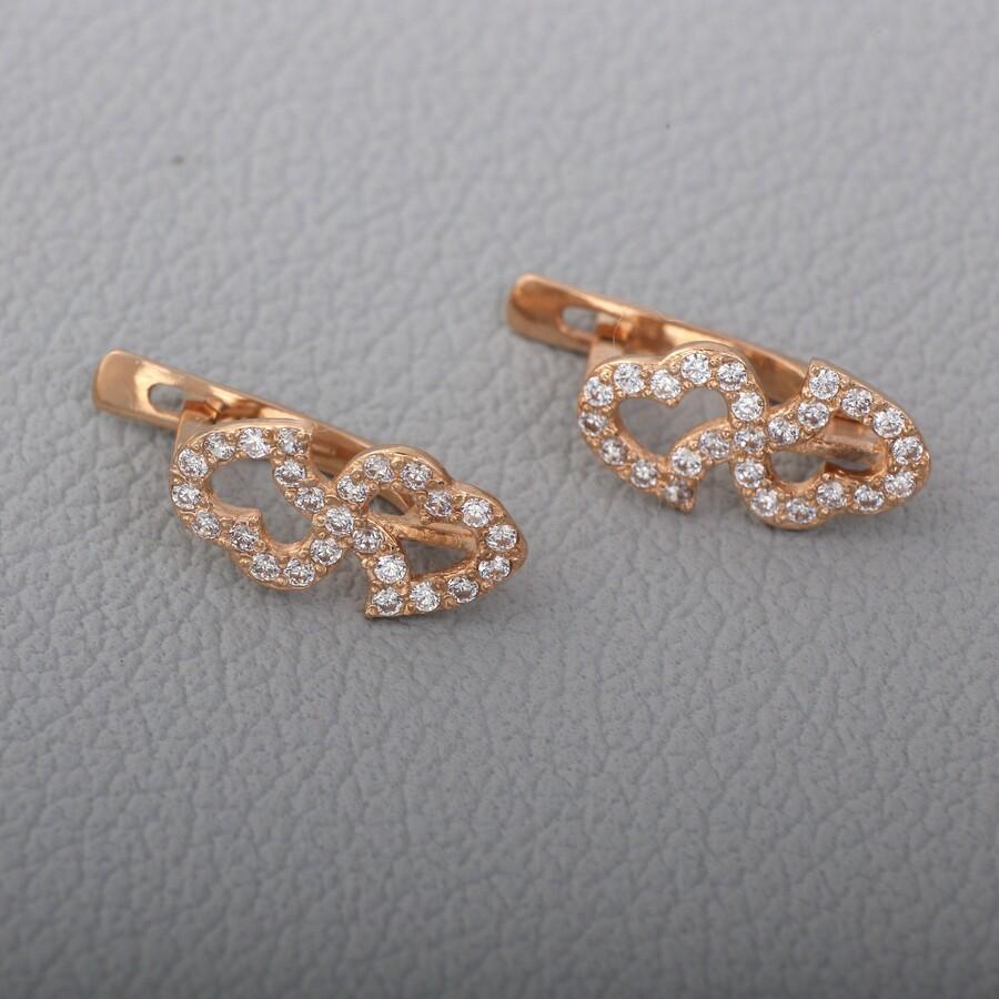 Золотые серьги с фианитами. Г41044