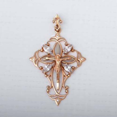 Золотой крестик с фианитамы. П461