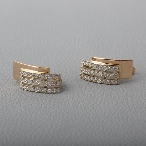 Золотые серьги с фианитами. С360