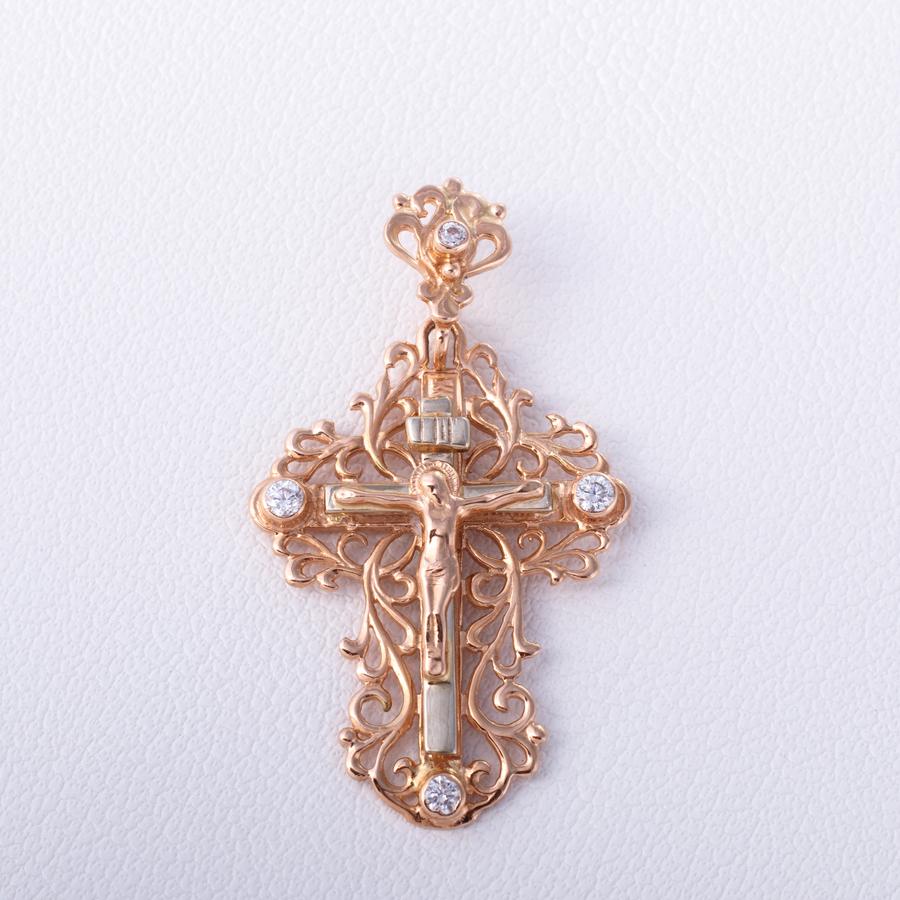 Золотой крестик с фианитами. П419
