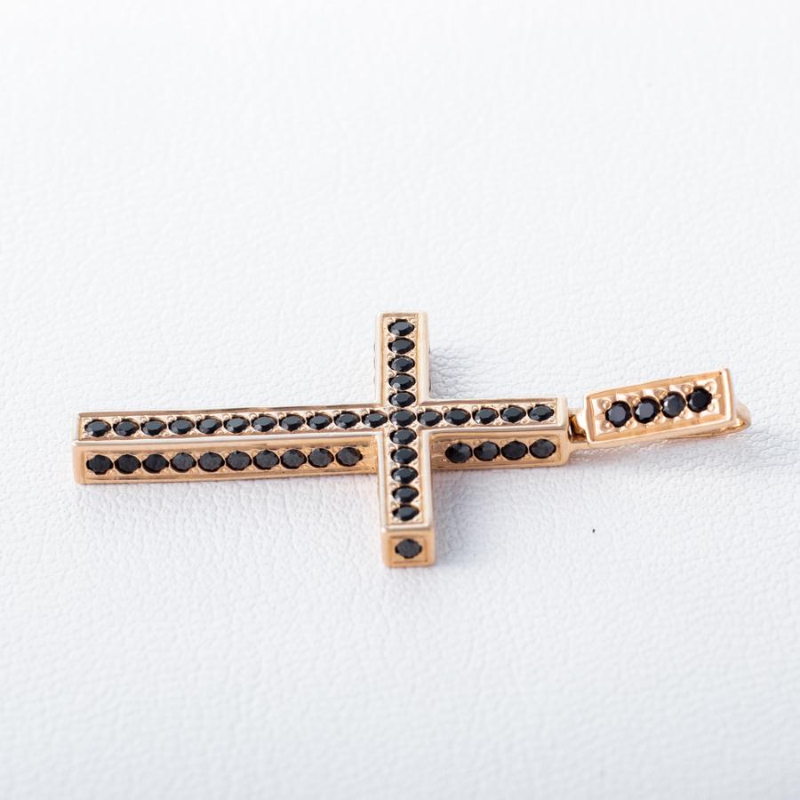 Золотой крестик с фианитами чорными . Г50035