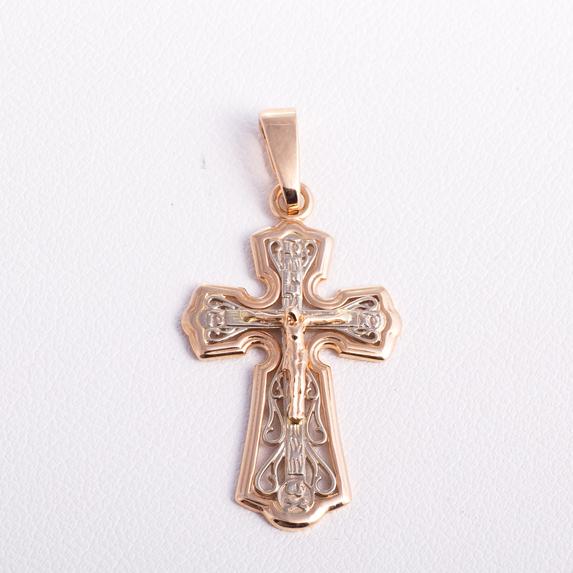 Золотой ажурный крестик 03106