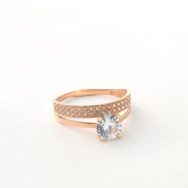 Золотое помолвочное кольцо с фианитами К1695