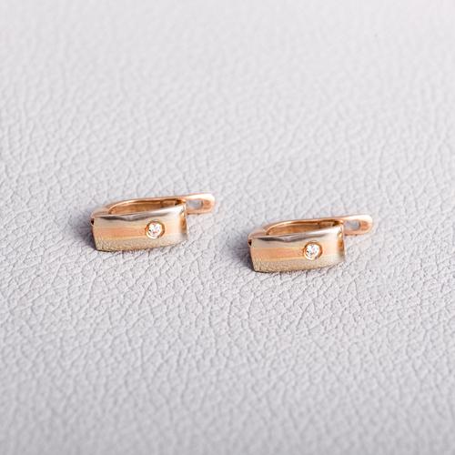 Золотые серьги с фианитом С28