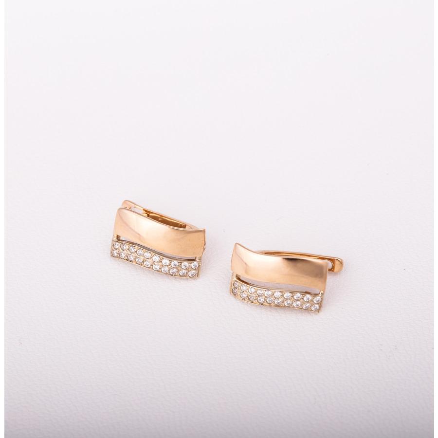 Золотые серьги с фианитами. С353