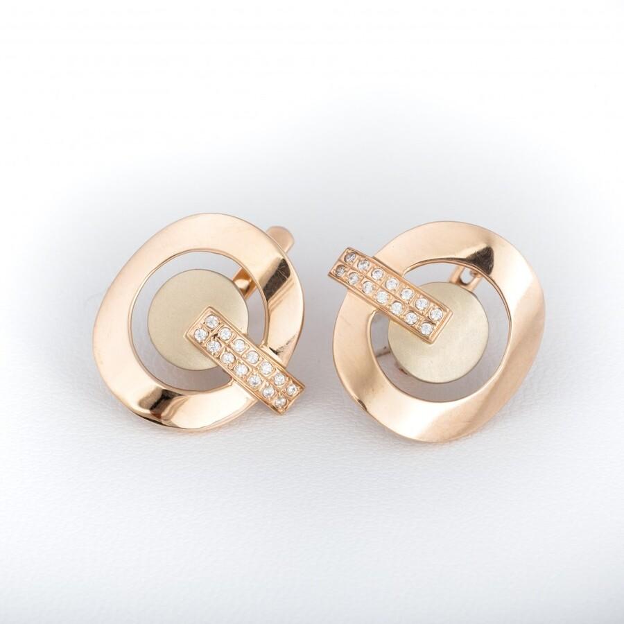 Золотые серьги с фианитами С847