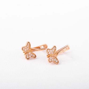 Золотые серьги бабочки с фианитами. С40935