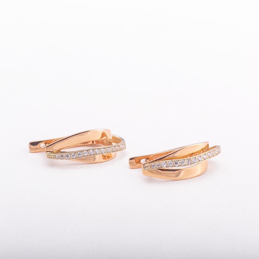 Золотые серьги с фианитами. С462