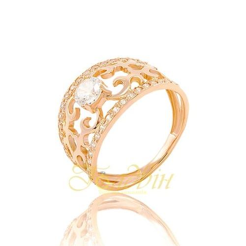 Помолвочное золотое кольцо с фианитами. К1659