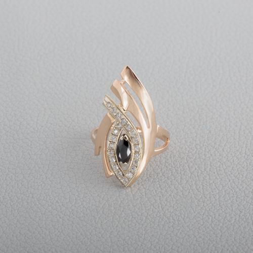 Золотое кольцо с черным фианитом. К1488