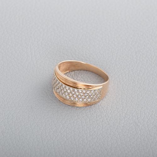 Золотое кольцо с фианитами. К1621