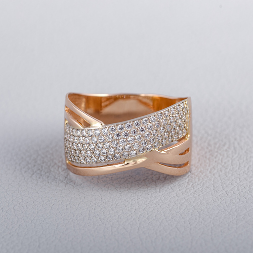 Золотое кольцо с фианитами. К1626