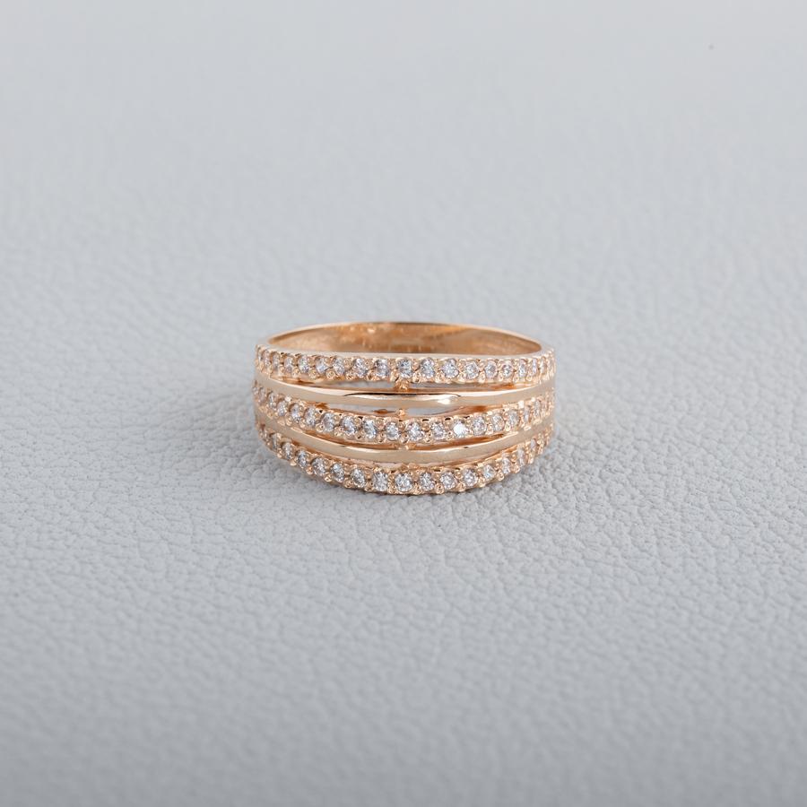 Кольцо золотое с фианитами. К1714