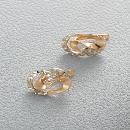 Золотые серьги с алмазной гранью. Г20274А