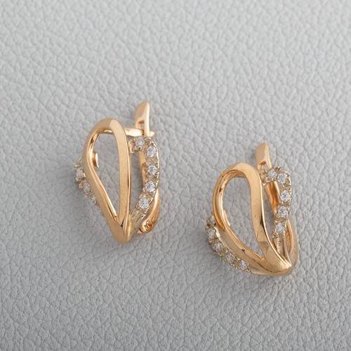 Золотые серьги с фианитами. Г20495