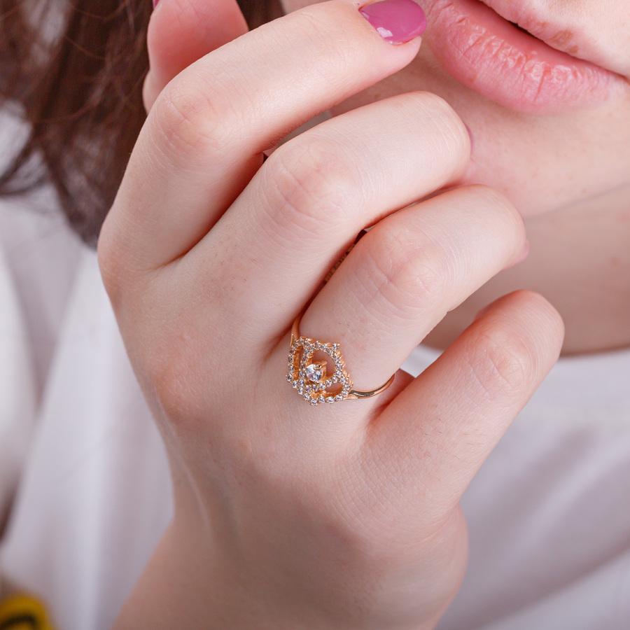 Золотое кольцо корона с фианитами Г21150
