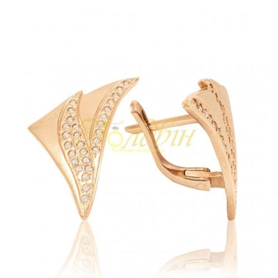Золотые серьги с фианитами. С253