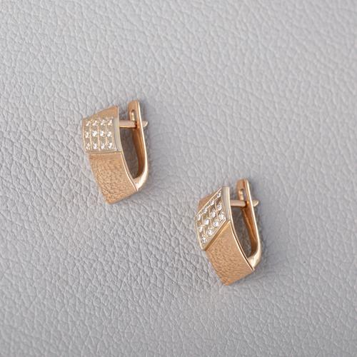 Золотые серьги с фианитами. С355