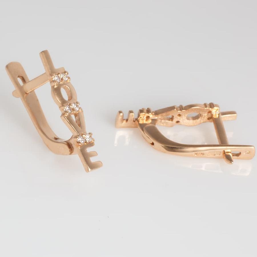 Золотые серьги Love с фианитами. С41270