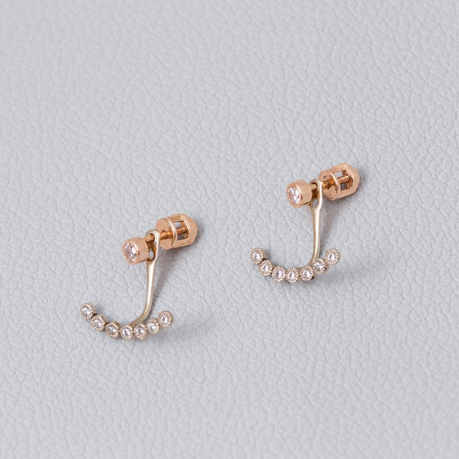 Золотые  серьги-пусеты с фианитами. С41297