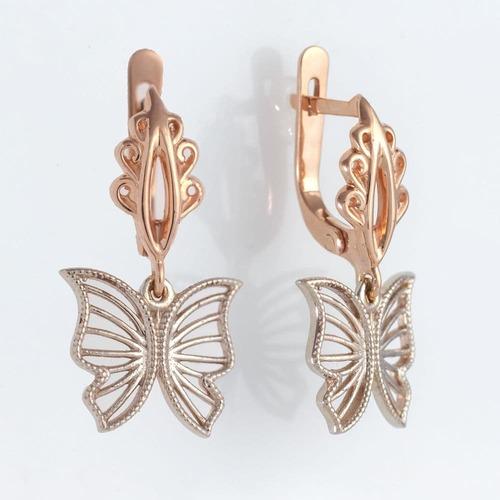 Золотые серьги бабочки с фианитами. С41324