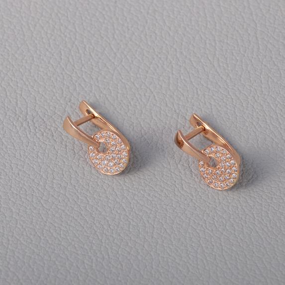 Золотые серьги с фианитами. С488