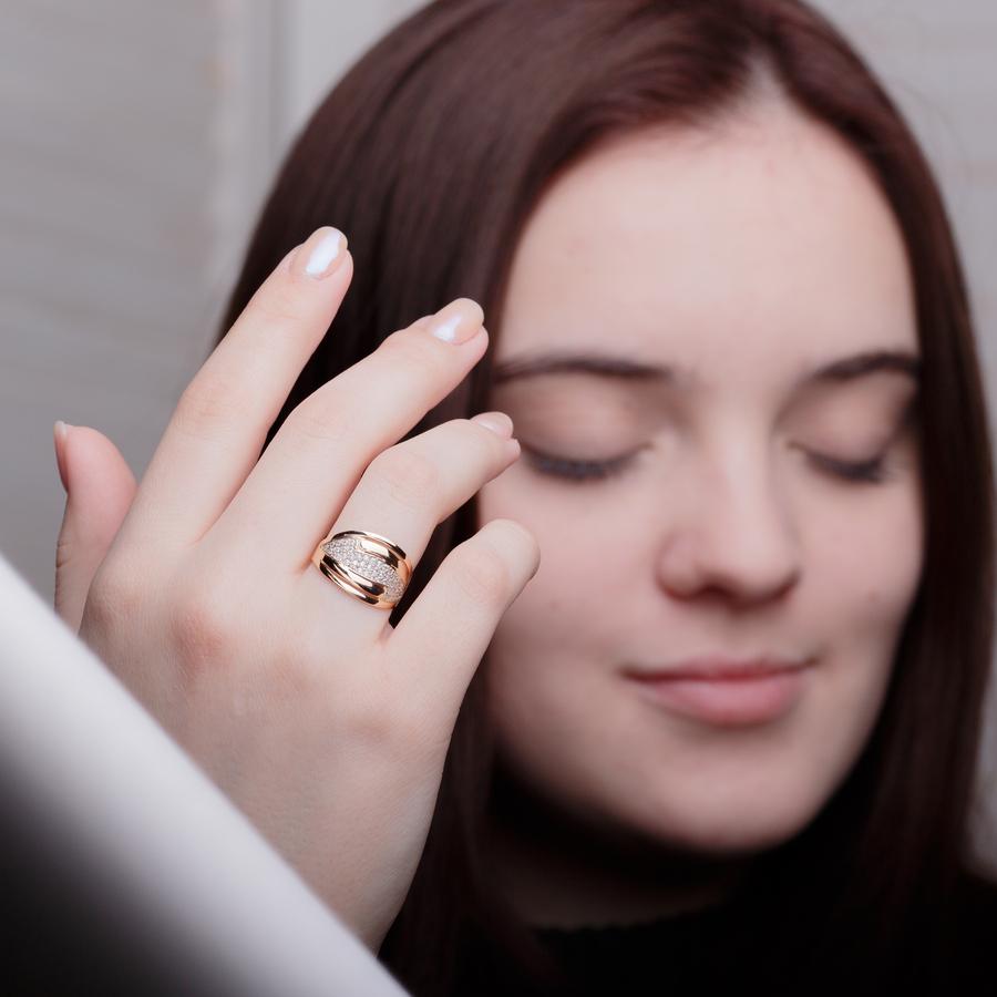 Золотое кольцо широкое с фианитами K1716