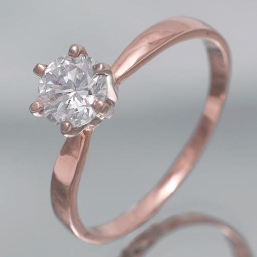 Золотое помолвочное кольцо с фианитами К1412