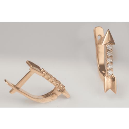 Золотые серьги с фианитами. Г41022