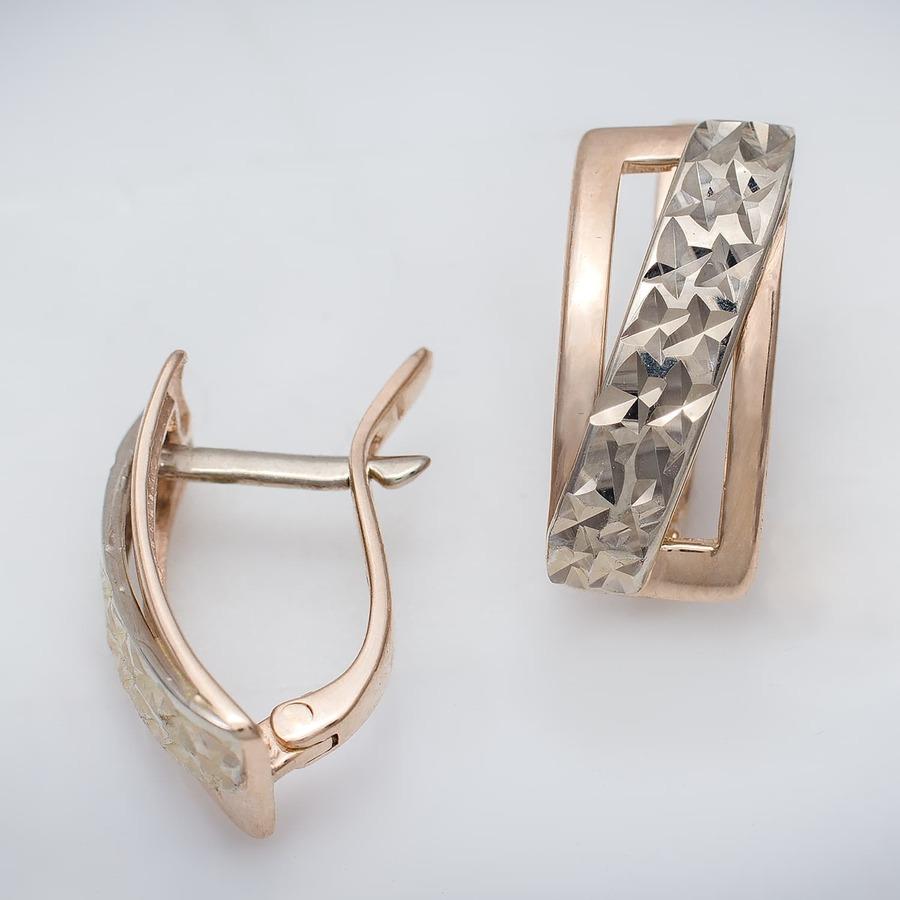 Золотые серьги с алмазной гранью. Г20275А
