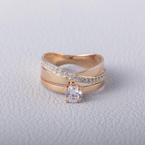 Золотое кольцо с фианитом. К1634