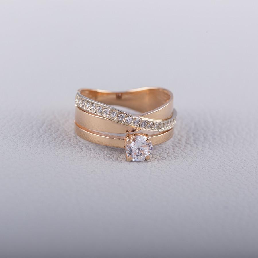 Золотое помолвочное кольцо с фианитом К1634