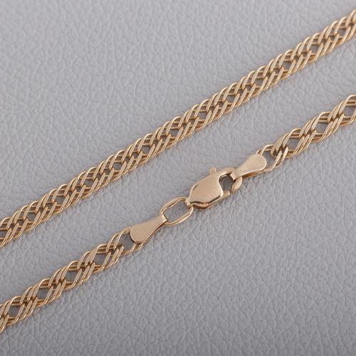 Золотая цепочка ромб тройной с алмазной гранью 33305041