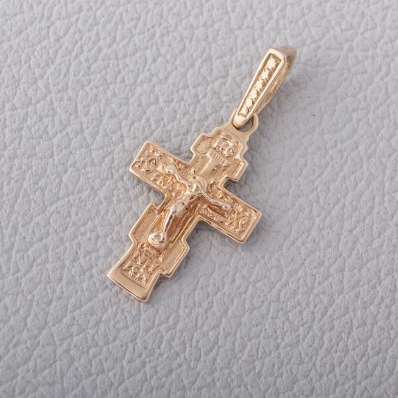 Золотой детский крестик с распятием. 437