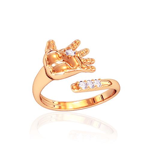 """Золотое кольцо """"Ручка младенца"""" с фианитами. К10620"""