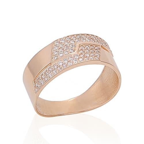Золотое обручальное кольцо с фианитами. K1704