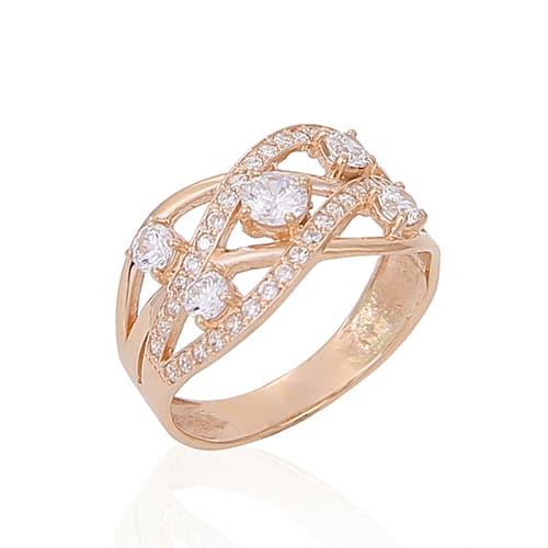 Золотое обручальное кольцо с фианитами. К1706