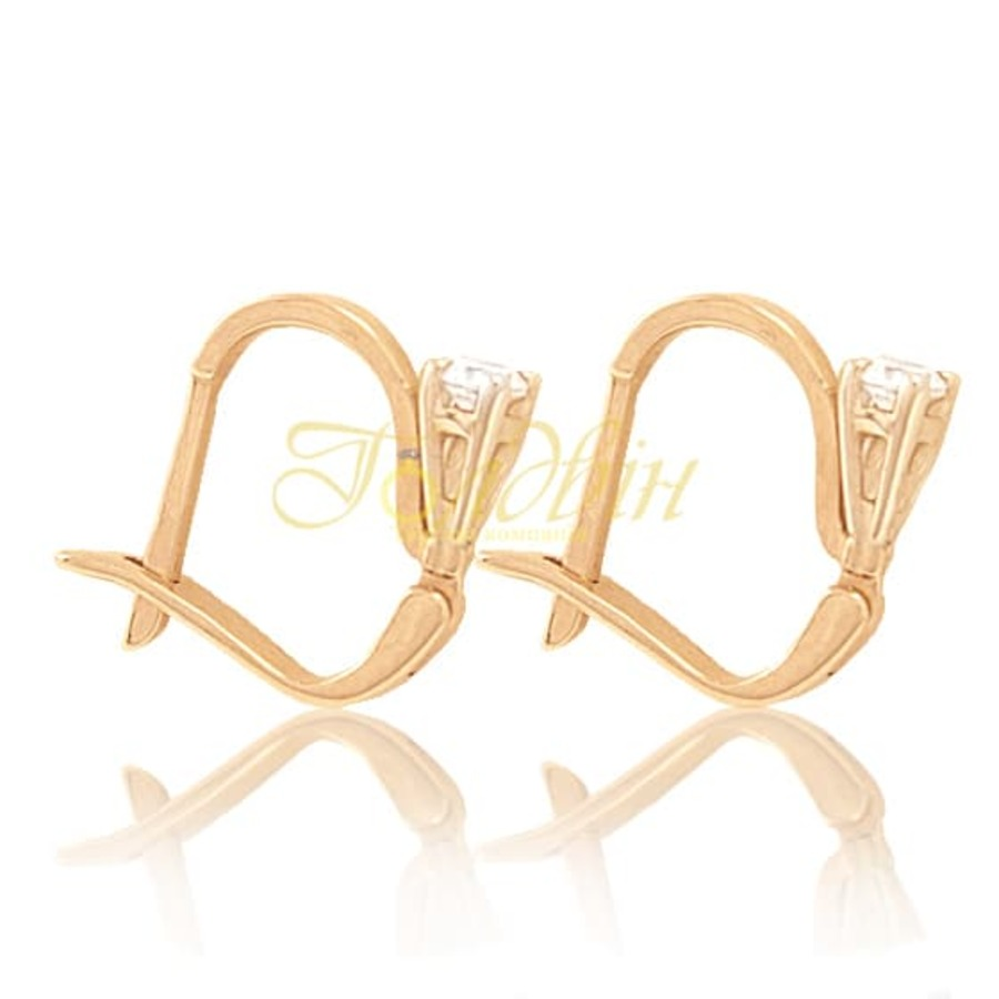Золотые серьги с фианитами. С02
