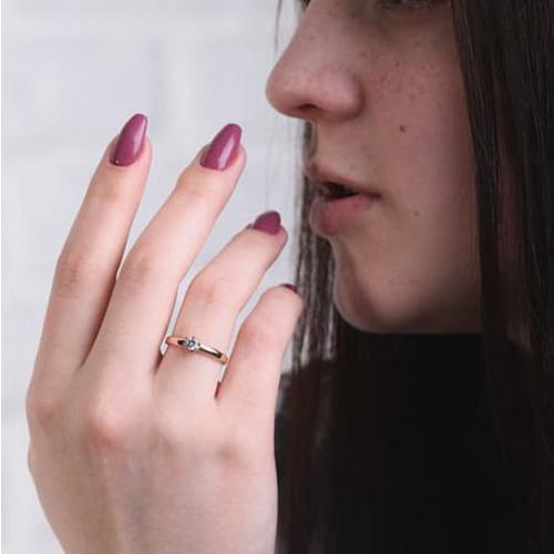 Помолвочное золотое кольцо с фианитом КП1433