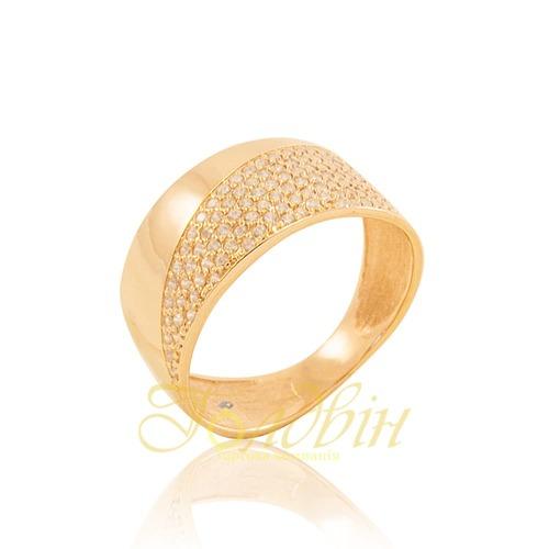 Золотое кольцо с фианитами. К1696