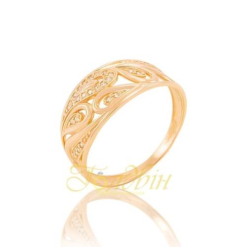 Золотое кольцо с фианитами. К1689