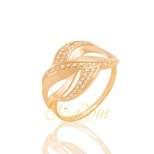 Золотое кольцо с фианитами. К1693