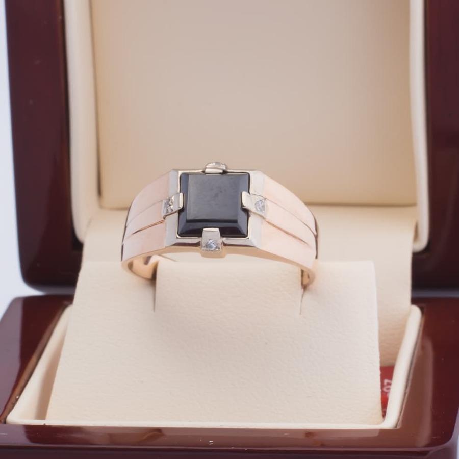 Мужская печатка золотая с черным камнем К1297