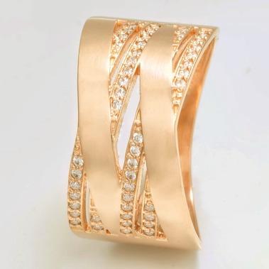 Широкое золотое кольцо с камнями К1703